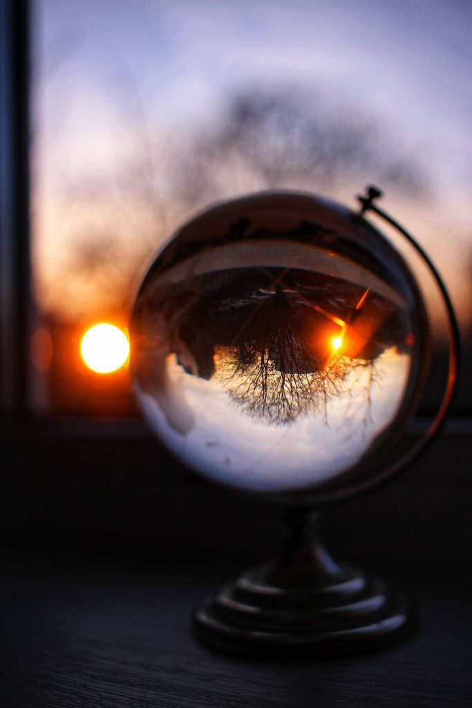 Sunset in a glass sphere