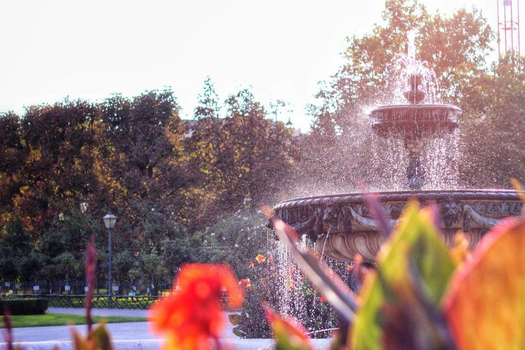 Фонтан в парк във Виена, сниман зад червен цветя