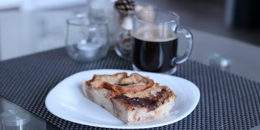 Cake with Croissants with coffee