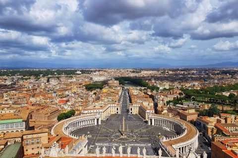 Vatican city and Rome Panorama from St. Peters Basilica dome