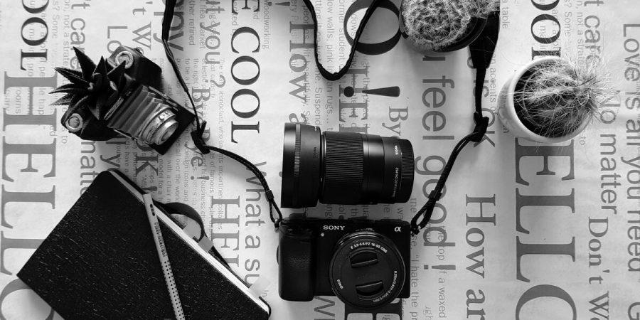 Sony a6300 фотоапарат с китов обектив и Sigma 30mm обектив, черно и бяло снимка, сложени на маса, аранжирани с кактуси